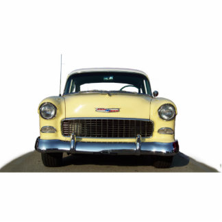 Yellow Classic 1955 Chevy Chevrolet Standing Photo Sculpture