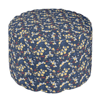 Yellow Clematis Floral Pattern Pouf