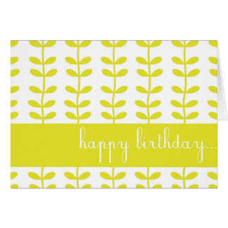 Yellow Climbing Plants Custom Happy Birthday Card