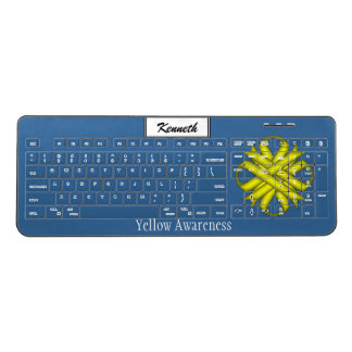 Yellow Clover Ribbon by Kenneth Yoncich Wireless Keyboard
