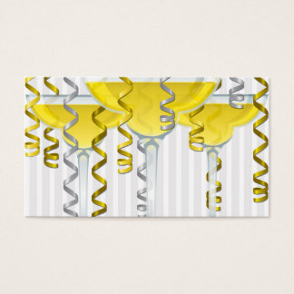 Yellow cocktail and ribbon business card