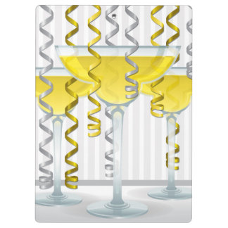 Yellow cocktail and ribbon clipboards