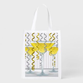 Yellow cocktail and ribbon grocery bags