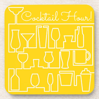 Yellow cocktail party coaster