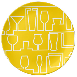 Yellow cocktail party plate