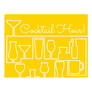 Yellow cocktail party postcard