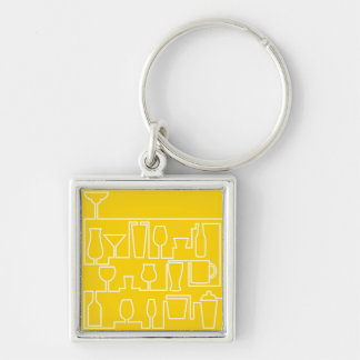 Yellow cocktail party Silver-Colored square keychain