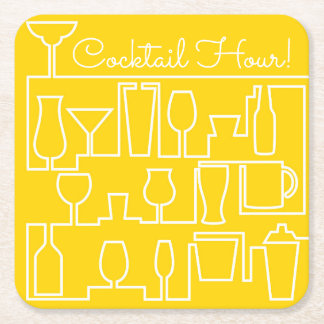 Yellow cocktail party square paper coaster