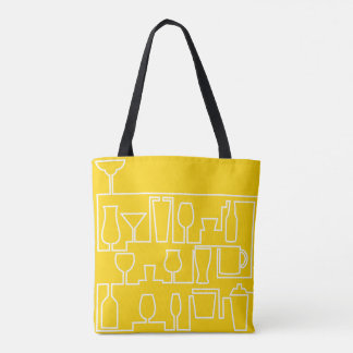 Yellow cocktail party tote bag