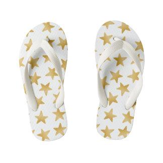 Yellow Color Gradient Stars Seamless Pattern Kid's Flip Flops