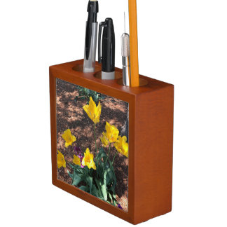 yellow colored tulip type flowers in spring desk organizer