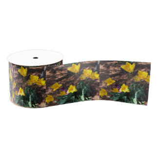 yellow colored tulip type flowers in spring grosgrain ribbon