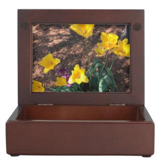 yellow colored tulip type flowers in spring keepsake box