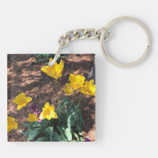 yellow colored tulip type flowers in spring keychain