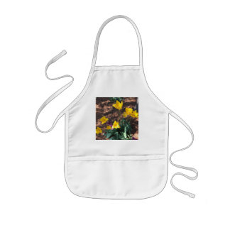 yellow colored tulip type flowers in spring kids apron