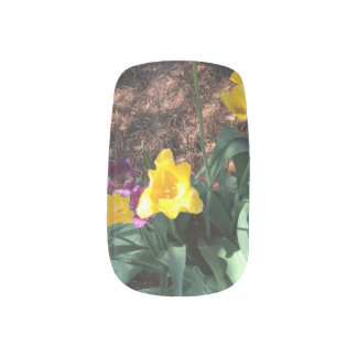 yellow colored tulip type flowers in spring minx nail art