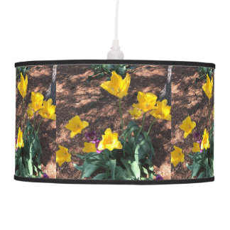 yellow colored tulip type flowers in spring pendant lamp