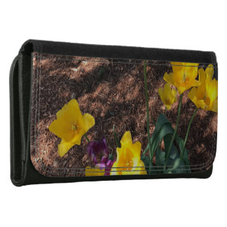 yellow colored tulip type flowers in spring women's wallet