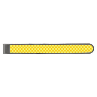 Yellow Combination Classic Checkerboard by STaylor Gunmetal Finish Tie Clip