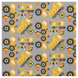 Yellow Construction Vehicles Fabric
