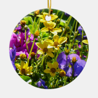 Yellow Coreopsis and Purple Violas Colorful Floral Round Ceramic Ornament
