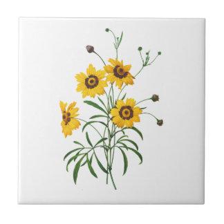 Yellow Coreopsis Elegans by Pierre Joseph Redoute Ceramic Tiles