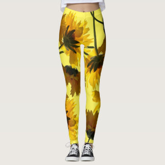 Yellow Coreopsis Flowers All Over Print Leggings