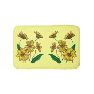 yellow coreopsis flowers print bath mat