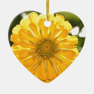 Yellow cosmo ceramic heart ornament