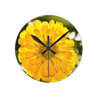 Yellow cosmo round clock
