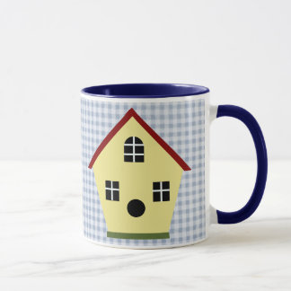 Yellow Country Birdhouse Blue Plaid Coffee Mug