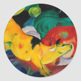 Yellow Cow by Franz Marc Classic Round Sticker