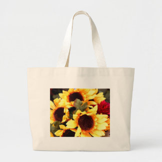 Yellow Craft  Flowers Large Tote Bag