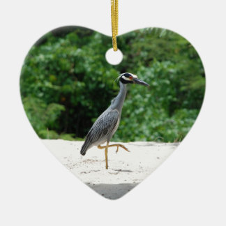 Yellow-crested night heron ceramic heart ornament