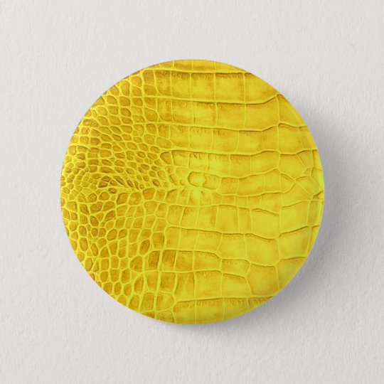 Yellow crocodile leather 2 inch round button