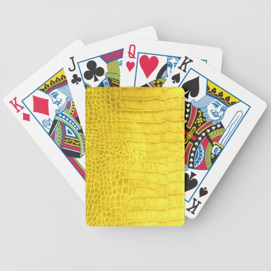 Yellow crocodile leather bicycle playing cards