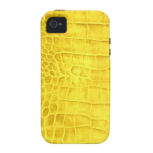 Yellow crocodile leather case for the iPhone 4