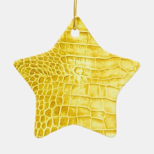 Yellow crocodile leather ceramic ornament