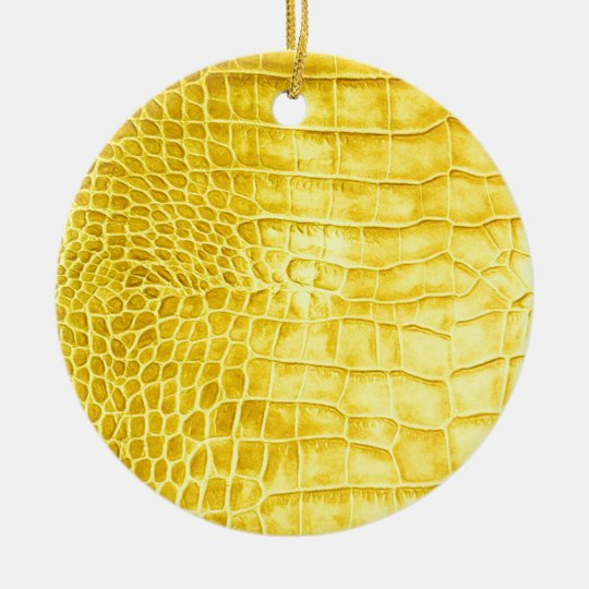 Yellow crocodile leather ceramic ornament