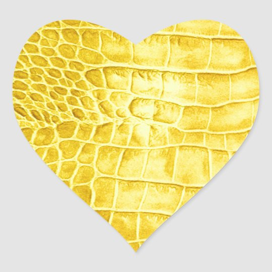 Yellow crocodile leather heart sticker