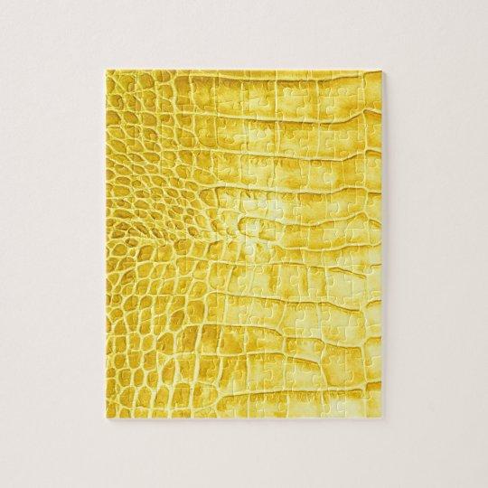 Yellow crocodile leather jigsaw puzzle
