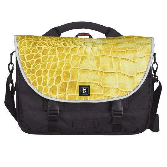 Yellow crocodile leather laptop shoulder bag