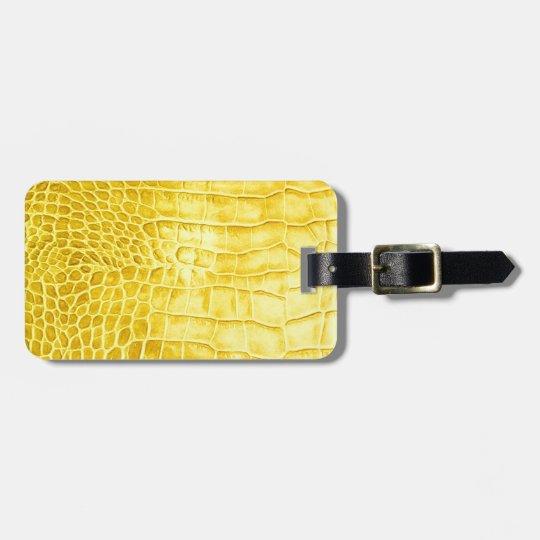 Yellow crocodile leather luggage tag