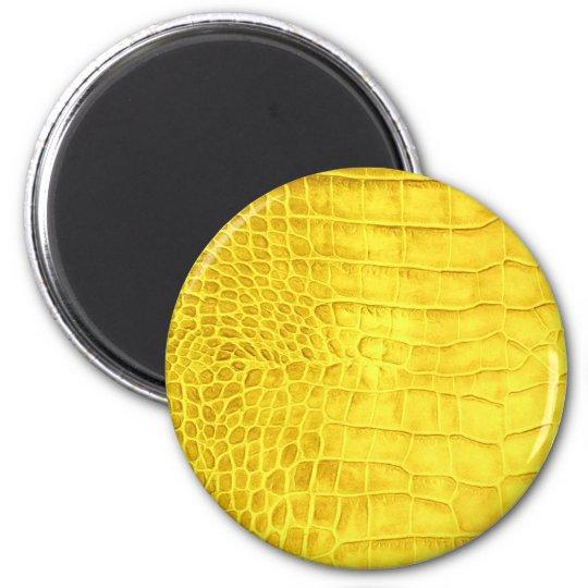Yellow crocodile leather magnet