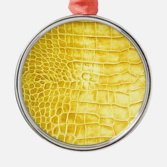 Yellow crocodile leather metal ornament