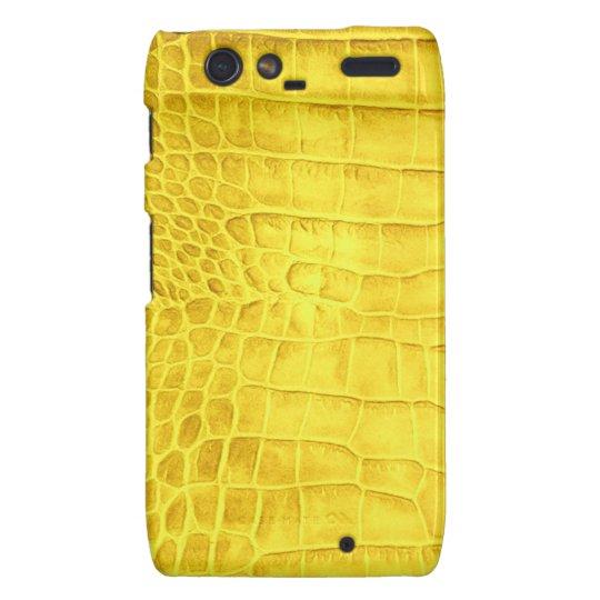 Yellow crocodile leather motorola droid RAZR covers
