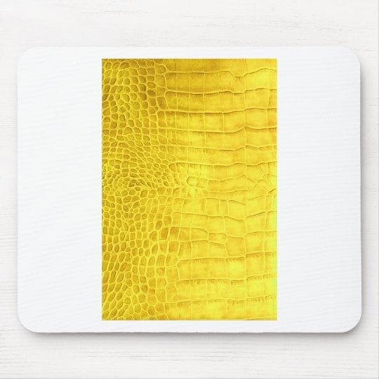 Yellow crocodile leather mouse pad