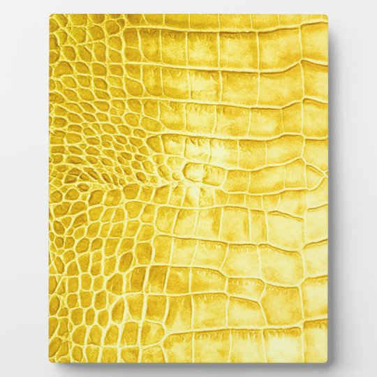 Yellow crocodile leather plaque