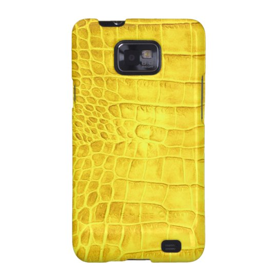 Yellow crocodile leather samsung galaxy s2 case