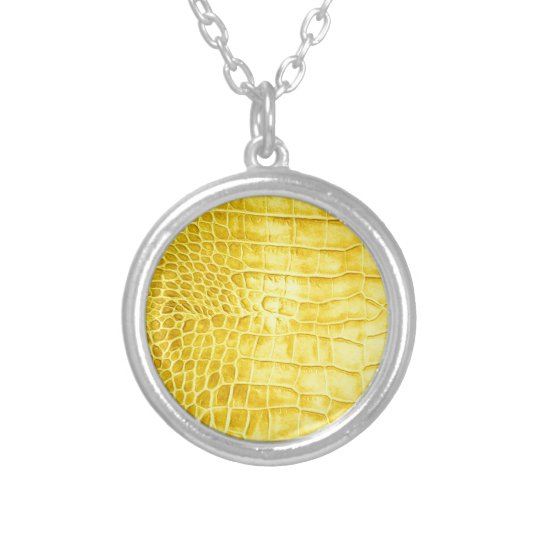 Yellow crocodile leather silver plated necklace